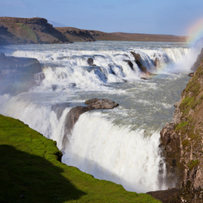 family vacation to gullfoss waterfall